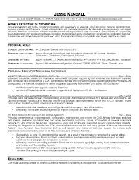 Technology Resume Objective Lab Technician Puter Example Entry Level