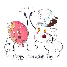 Cute Coffee Mug And Donut Character Playing To Friendship Day