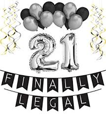 21st Birthday Party Pack – Black & Silver Happy Birthday Bunting Poms and Swirls