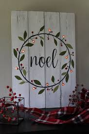 Noel Sign Lighted Christmas Hand Painted Wood Wreath Rustic Home Decor Mantle