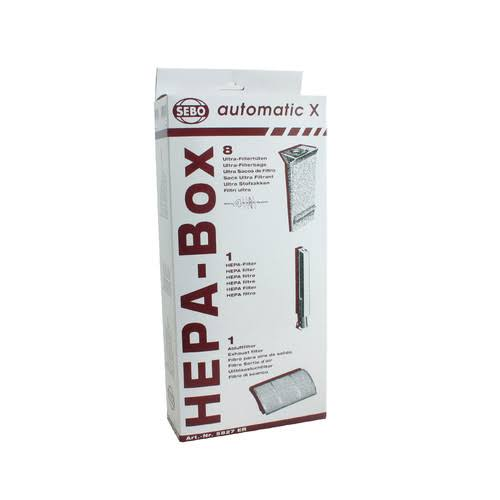 SEBO HEPA Service Box - for X Series Vacuum, Exhaust Filter, HEPA Microfilter, 8 Ultra Bags