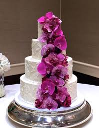 Purple Orchids Wedding Cake Sugarland Raleigh Chapel Hill