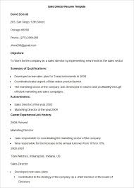 Sample Sales Director Resume Template