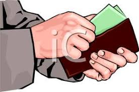 Hands Taking Money Out of a Wallet Royalty Free Clipart Picture