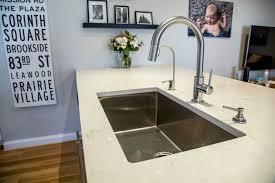 Delta Trinsic Kitchen Faucet Champagne Bronze by Zodiac London Sky Quartz Countertops Kraus Sink Khu 100r3 30