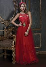 ready made gowns indowestern buy online red party wear readymade gown