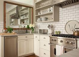 Stainless Steel Subway Tile Dark Grout Open Shelving And A Mirror Over The Sink Find This Pin More On Grey Theme Kitchen Ideas