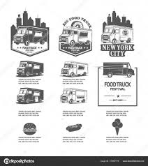 100 Truck Logos Set Festival Food Truck Logos Vector Icons For Fast Food Companies