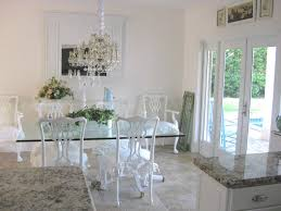 Dining Room Glass Sets Narrow Table White Chairs And Wall