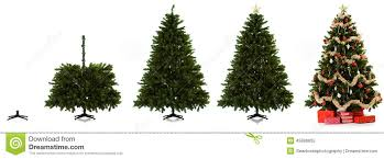 christmas tree being set up in four images stock image image of