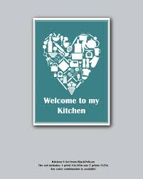 Teal Variations 8 Set Kitchen Decor