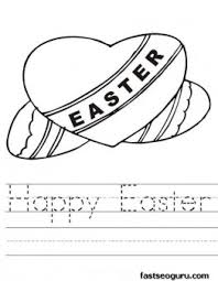 Printable Happy Easter Hearts Coloring Pages For Kids