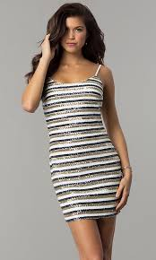 Image Of Bodycon Short Sequin Striped Holiday Party Dress Style JTM JMD8046
