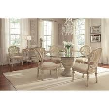 Schnadig Empire II 5 Piece Round Pedestal Glass Top Table And Oval Back Chair Dining