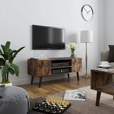 vasagle retro lowboard tv regal fernsehtisch fernsehschrank im 50 60er jahre look retro möbel für ihren flachbildschirm spielekonsolen