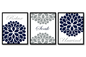Gray And Teal Bathroom by Bathroom Wall Art Navy Blue Grey Flower Prints Set Of 3 Relax