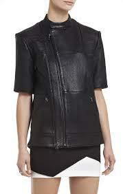 short sleeve leather jacket