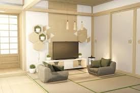 tropisches interieur mit sofa für wohnzimmer japanischen