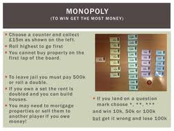 Monopoly Maths Revision Game By Jazzyfootsteps