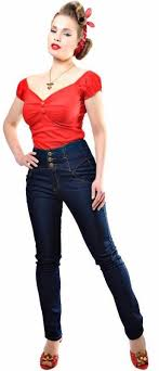 Collectif Rebel Kate Skinny 50s High Waisted Navy Blue Denim Jeans Cherry Red Vintage