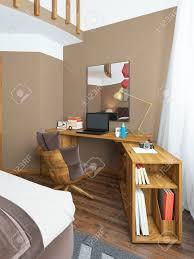 schreibtisch in einem modernen schlafzimmer massivholz mit einer winkelbefestigung über dem tisch spiegel auf dem tisch laptop bücher und dekor