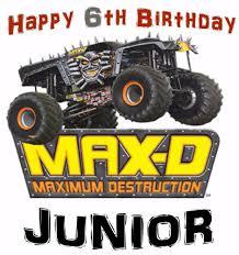 100 Monster Truck Jams MONSTER JAM MAXD IronOn For A White Tshirt Personalized 7X10 EBay