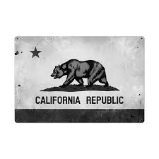California Republic Bear State Flag Sign Large Black White 36 X 24 Zoom