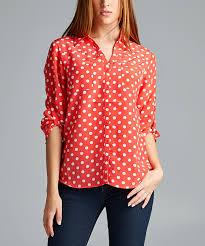 antilia femme coral u0026 white polka dot button up shirt coral