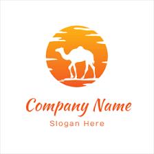 Hot Air Balloon And Travel Agency Orange Sun White Camel Logo Design