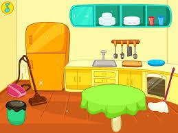Kids Clean Kitchen Clipart