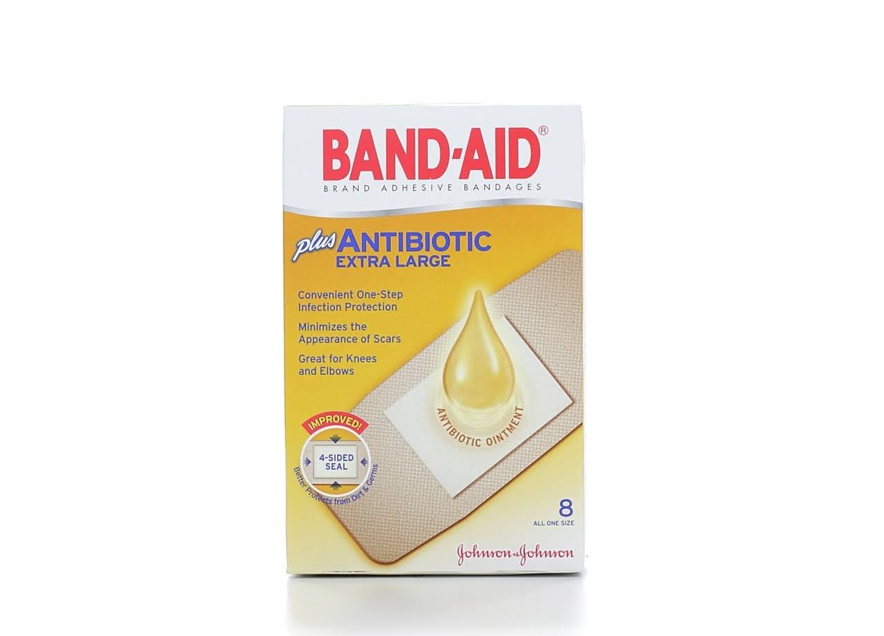 Band-Aid Plus Antibiotic Adhesive Bandage - 8ct