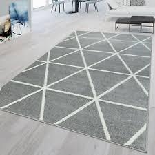 details zu teppich grau weiß wohnzimmer rauten design skandi look strapazierfähig kurzflor