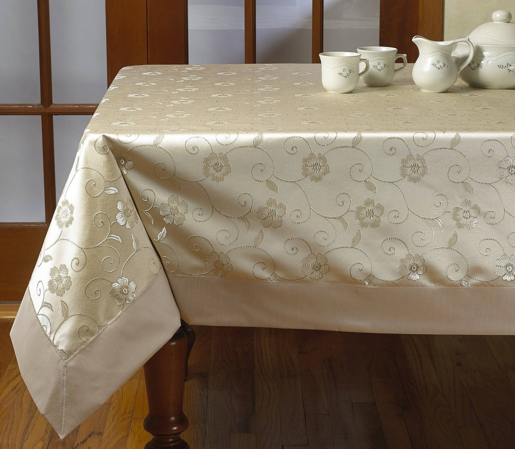 Violet Linen Elegant Embroidered Flower Design Tablecloths, Size: 70 inch x 88 inch, Gold
