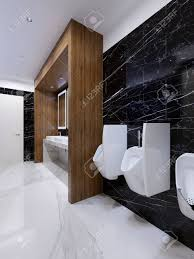100 In Marble Walls Modern Public Toilet In Contemporary Style With A Wooden Niche