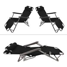 Garden Mile® Twin Pack Black Zero Gravity Garden Sun Lounger Sun Bed  Recliner Reclining Folding Reflexology Garden Furniture Chair X2