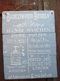 spruchschild badezimmer regeln vintage shabby bild schild