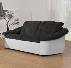 canap noir et blanc canapé fixe 2 places tissu noir blanc yolinda canapé fixe soldes