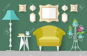 interieur mit möbeln und einem ständer für blumen im flachen stil vektor illustration wohnzimmer lounge in grün innenarchitektur