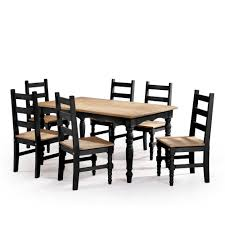 100 6 Chairs For Dining Room Manhattan Comfort Jay 7Piece Black Wash Solid Wood Set With