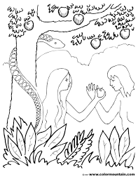 Free Coloring Adam And Eve In The Garden Of Eden Pages