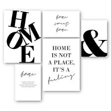 details zu 5er set home wandgalerie bild poster kunstdruck spruch zuhause deko wohnzimmer