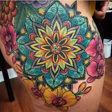 Finished Mandala Orchids Tattoo Super Pleased With The Turn Out By Rich Wren