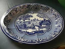 Daher Decorated Ware 11101 by Daher Decorated Ware Blue Willow Country Pattern Oval Tin Serving
