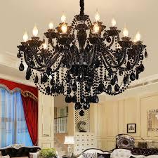 schöner kronleuchter kristall in schwarz kerzen design für