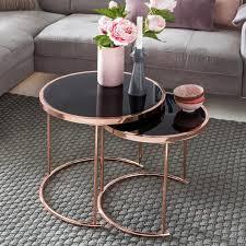 finebuy design couchtisch deco glas kupfer tisch 2er set satztisch ø 50 42 cm wohnzimmertisch glasplatte schwarz beistelltisch modern