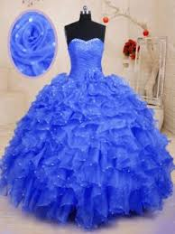 Organza Sleeveless Floor Length 15 Quinceanera Dress And Beading Ruffles Hand Made Flower