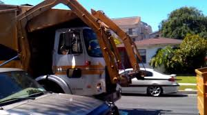 Yellow Front Loader Trash Truck - YouTube