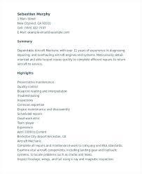 Mechanic Resume Aircraft Skills