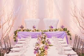 Wedding Reception With Twinkle Lights Backdrop And Lavender Head Table Dressed Purple