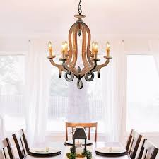 Farmhouse 6 Light Candle Distressed Wood Chandelier